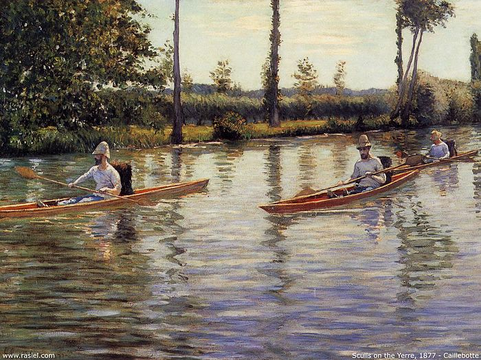 Gustave Caillebotte oil paintings - Sculls on the Yerre,1877,ml0002