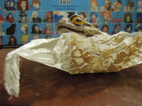 Frog in a lace box